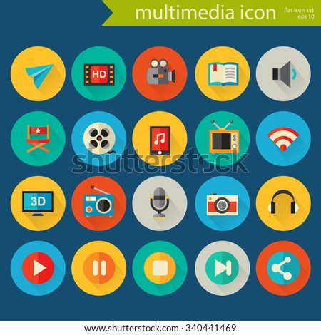 Trendy flat detailed multimedia colored icons on colored circles