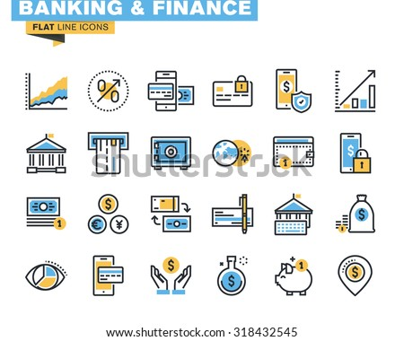 Trendy flat line icon pack for designers and developers. Icons for banking, finance, online payment, m-banking, savings, internet payment security, for websites and mobile websites and apps.  - stock vector
