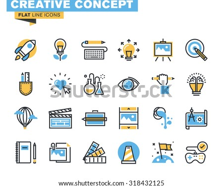 Trendy flat line icon pack for designers and developers. Icons for creative process, design, art, movie, photography, literature, painting, product development, for mobile and websites, and apps.  - stock vector