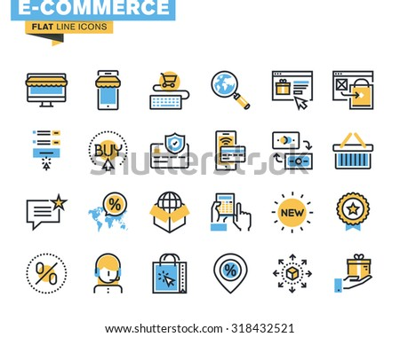 Trendy flat line icon pack for designers and developers. Icons for e-commerce, m-commerce, online shopping and payment, for websites and mobile websites and apps.  - stock vector