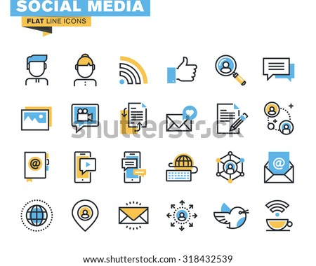 Trendy flat line icon pack for designers and developers. Icons for social media, social network, communication, digital marketing, for websites and mobile websites and apps.  - stock vector