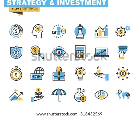 Trendy flat line icon pack for designers and developers. Icons for strategy, investment, finance, banking, insurance, funding and payment, for websites and mobile websites and apps.  - stock vector