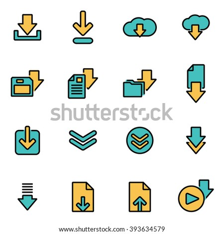 Trendy flat line icon pack for designers and developers. Vector line download icon set