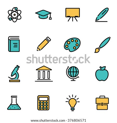 Trendy flat line icon pack for designers and developers. Vector line education set