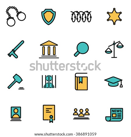 Trendy flat line icon pack for designers and developers. Vector line justice icon set - stock vector