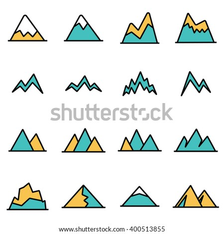 Trendy flat line icon pack for designers and developers. Vector line mountains icon set.