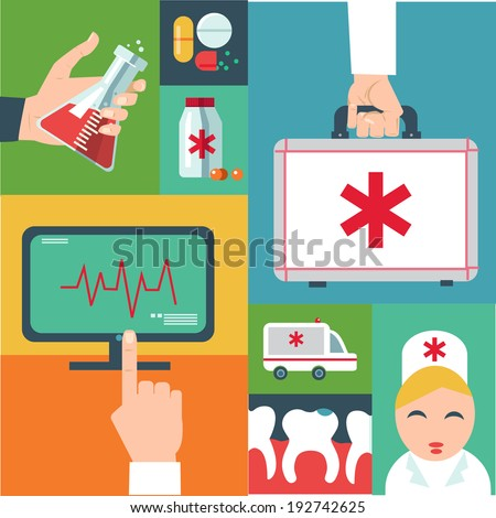 Trendy flat medical icons with shadow. Vector elements - stock vector