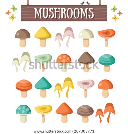 Trendy flat mushrooms set. Beautiful colorful mushrooms. Flat design concepts. Creative vector illustration - stock vector