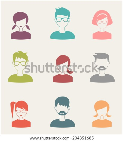 trendy flat people icons set 3 - stock vector