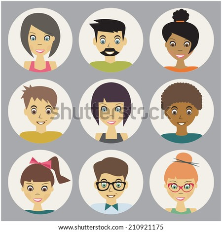 trendy flat people icons set - stock vector