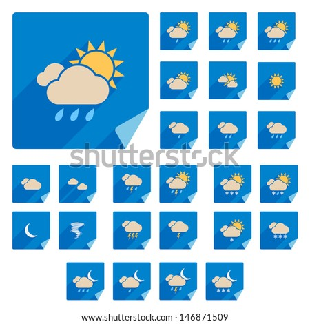 Trendy Flat Weather Icon Set With Long Shadow. Vector - stock vector