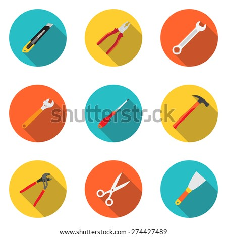 Trendy flat working tools icons. Stationery knife, pliers, screwdriver, wrench, adjustable wrench, hammer, scissors, trowel. Vector illustration - stock vector