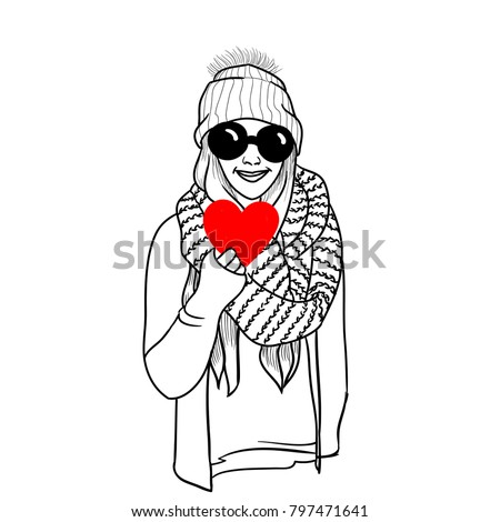 Trendy girl, holding red heart in hand.