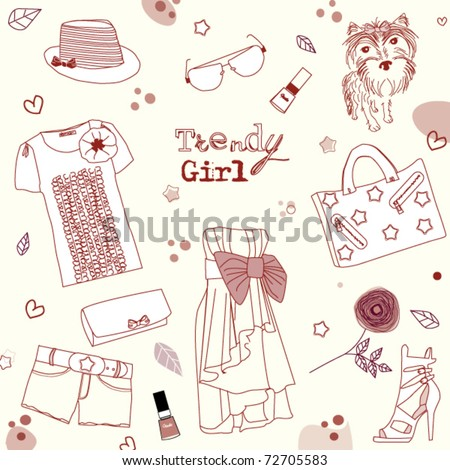 Trendy girl set, stylized doodles - stock vector
