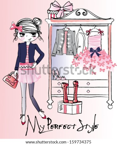 trendy girl wardrobe - stock vector