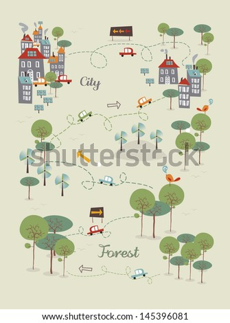 Trendy Go green city infographics concept. Vector illustration layered for easy manipulation and custom coloring. - stock vector