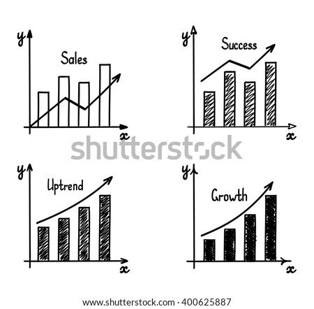 Trendy Handdrawn Vector Bar Graph Coordinate Stock-Vektorgrafik ...