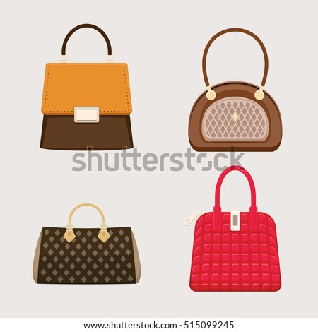 Trendy handbags. Female accessory. Fashion bags. Isolated objects. Vector illustration