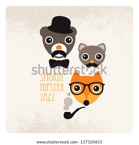 Trendy hipster animals smoking jazz mustache illustration with vintage paper background - stock vector