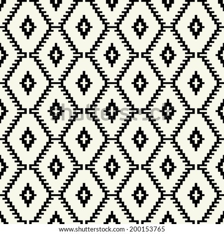 Trendy hipster  Black and white pixel seamless pattern - stock vector