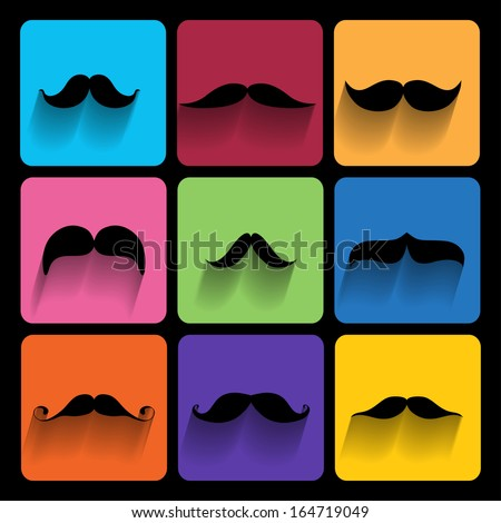 Trendy  hipster  Icons With Long Shadow - stock vector
