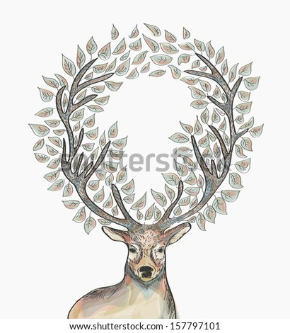 Trendy hipster reindeer with circle leaves Merry Christmas composition. EPS10 vector file with transparency for easy editing. - stock vector