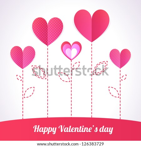 Trendy Illustration of five pink hearts like flowers - stock vector