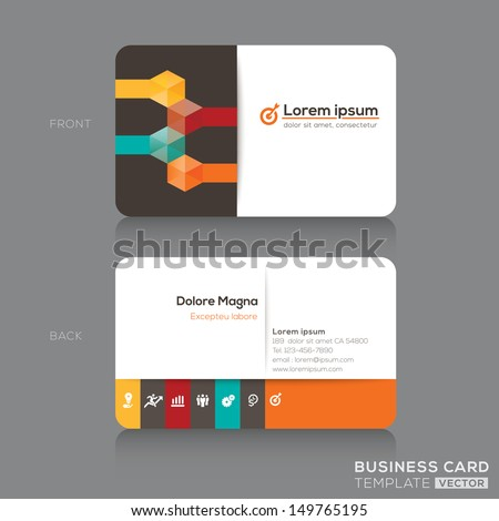 Trendy Isometric Business cards Design Vector Template layout - stock vector