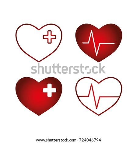 trendy medical symbol heart cross pulse stock vector