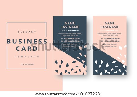 Trendy Minimal Abstract Business Card Template Modern Corporate Stationery Id Layout With Artistic Brush Pattern