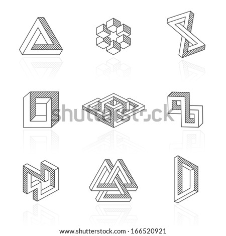 Trendy optical illusion shapes on white. Vector elements - stock vector