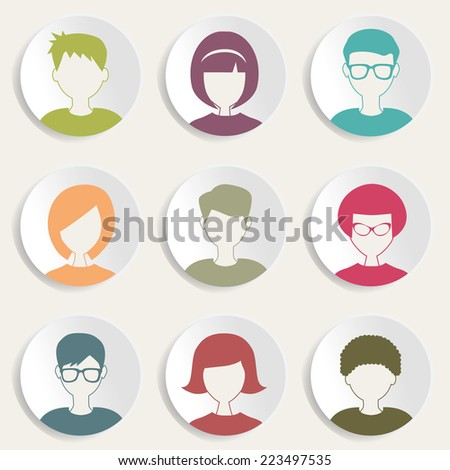 trendy people icons - stock vector
