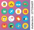 Trendy Premium Flat Icons for Web and Mobile Applications Set 8. Special Shopping Set. - stock vector