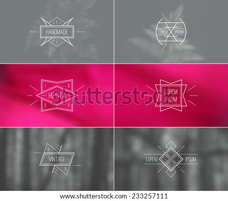 Trendy retro vintage badges in thin line style and card with blurred backgrounds. Pink and grey colors - stock vector