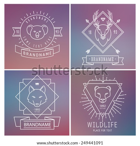 Trendy Retro Vintage Insignias Bundle. Animals. Wolf, deer, koala, lion. Vector set of outline emblems and badges - abstract hipster logo templates - stock vector