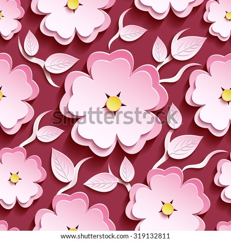 Trendy romantic maroon background seamless pattern with pink-white cut paper 3d flower sakura - japanese cherry tree, wavy branch and leaf. Bright floral stylish modern wallpaper. Vector illustration