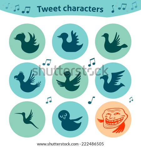 Trendy round icons of bird characters. Nice social media Internet for definition of style of tweet posts. - stock vector