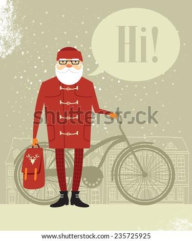 Trendy Santa Claus  - stock vector