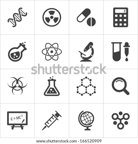Trendy science icons on white. Vector elements - stock vector