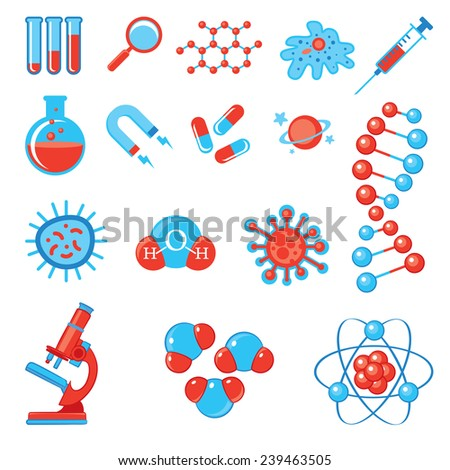 Trendy science icons. Physics Chemistry Biology and Medicine. Vector illustration. Isolated on white background. Set - stock vector