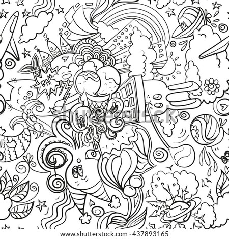 Trendy seamless images in the style of doodle art. Summer mix of animals, ice cream, sweets and rainbow. Fun texture, cartoon style. White version - stock vector