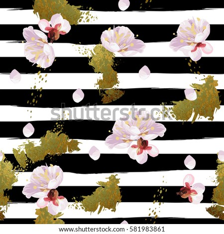 Trendy seamless spring pattern with Shabby gold texture, blossom plum tree's flowers and black and white art stroke stripes. Vector.