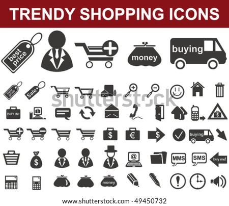 Trendy Shopping Icons - stock vector