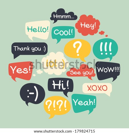 Trendy speech bubbles set in flat design with short messages. - stock vector