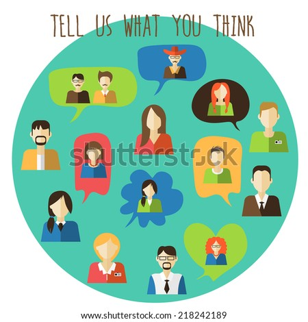 Trendy speech bubbles set with peoples. - stock vector