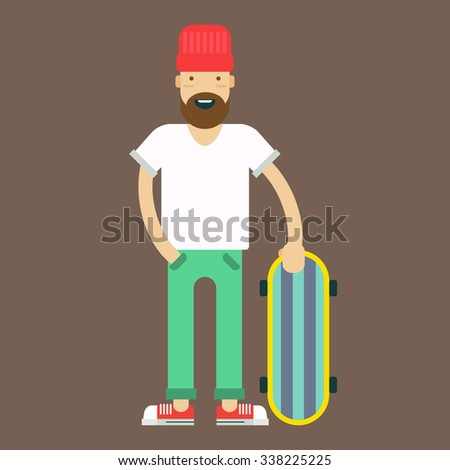 Trendy styled hipster with the skate board on a grey background. Vector illustration and icon.  - stock vector