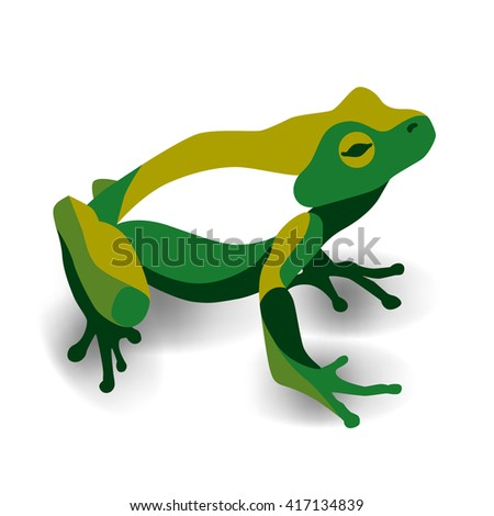 Trendy stylized illustration, frog, anuran, line vector silhouette of frog, vector illustration - stock vector