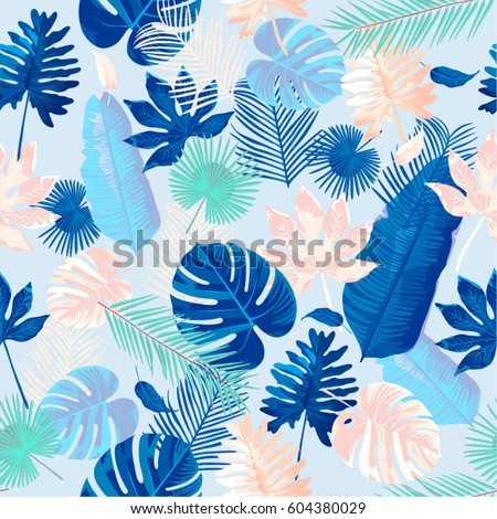 Trendy Summer Tropical Leaves Vector Design