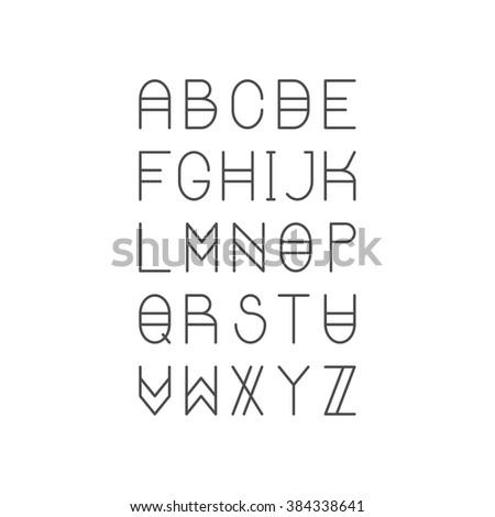 Trendy Thin Line Font. Golden Proportion Serif Typeface. Latin Alphabet. Vector. - stock vector