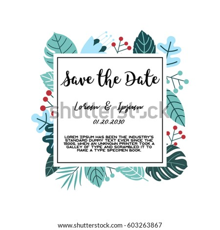 Trendy tropical jungle style vector invitation stock vector trendy tropical jungle style vector invitation template textured leaves flower background save the date stopboris Images